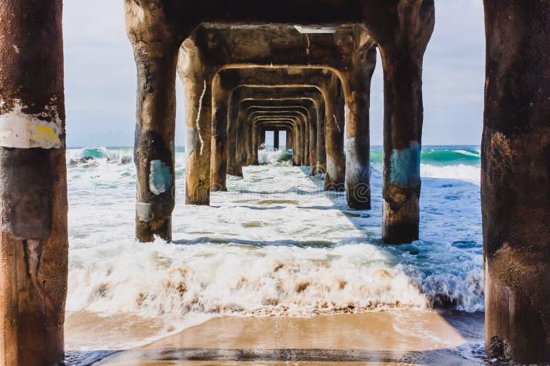 Under the pier. Manhattan beach pier stock images