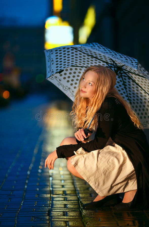 Download Under the Rain stock image. Image of blue, hair, look - 20730089