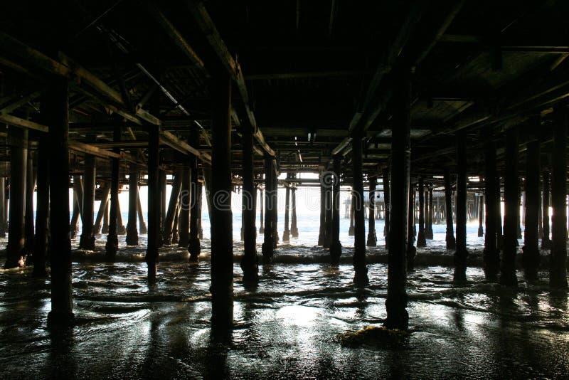 Under the Santa Monica Pier. Photo taken under the Santa Monica Pier showing light and waves moving through pillars royalty free stock photography