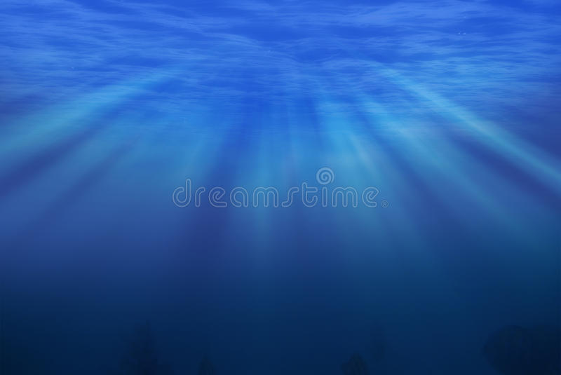 Under sea. Artwork with light rays stock photography