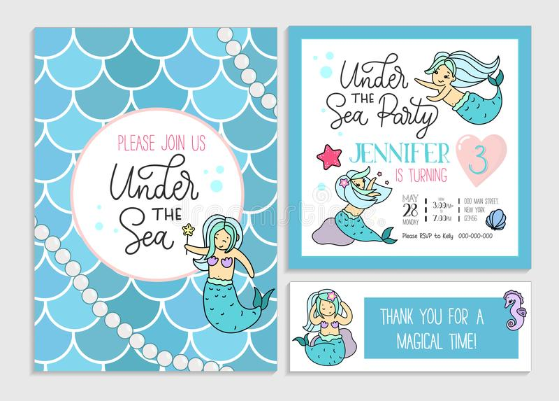 Under the sea party invitation for little girl mermaid. Set of g vector illustration