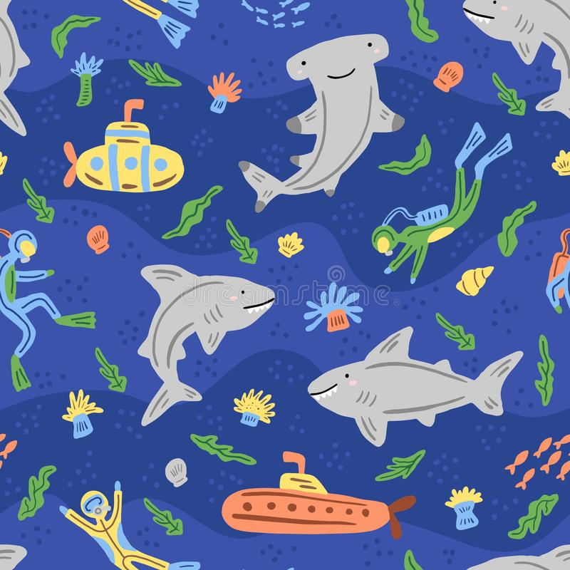 Under the sea seamless pattern. Repeated texture with sea cartoon characters. Hand-drawn illustration. stock photo