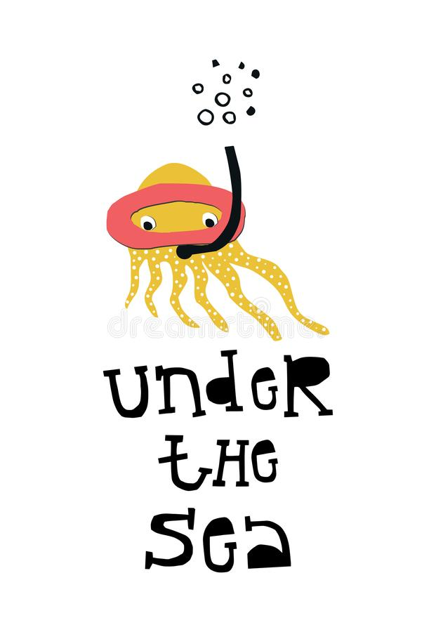 Under the sea - Summer kids poster with octopus cut out of paper and hand drawn lettering. Vector illustration vector illustration