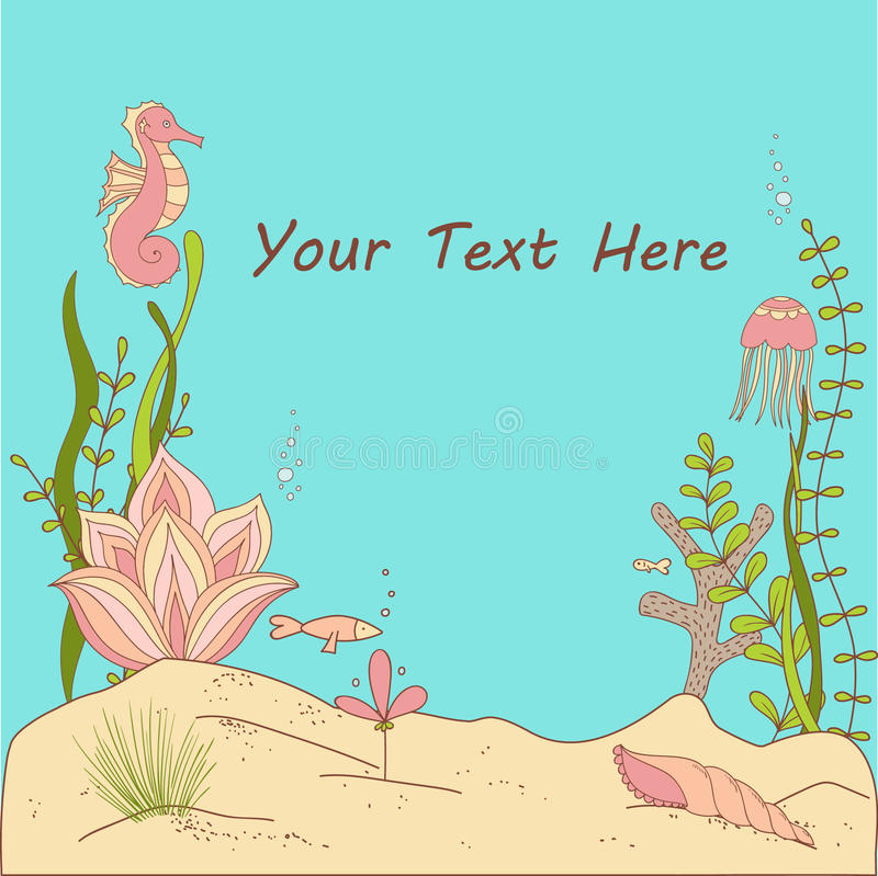 Under The Sea Whimsical Card/Invitation. Vector Illustration royalty free illustration
