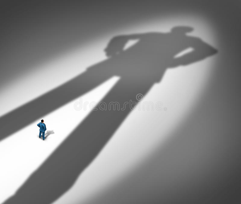 Under A Shadow. Business metaphor for living under a powerful leader or the little guy or small business competing against giants as a businessman facing a huge stock illustration