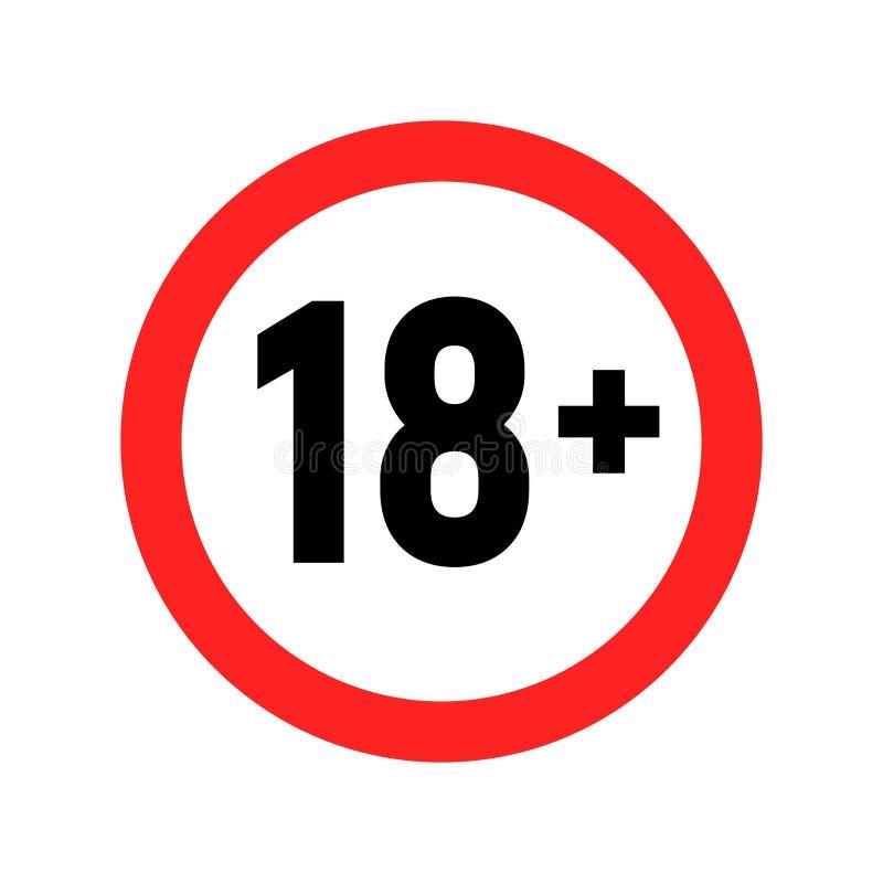 Under 18 sign warning symbol. Over 18 only censored. Eighteen age older forbidden adult content stock illustration