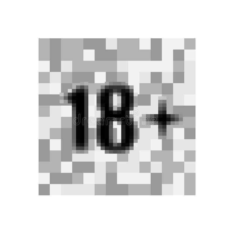 Under 18 skyltvarningssymbol Över 18 censurerade Arton år äldre förbjuden vuxeninnehåll Eps 10-vektor royaltyfri illustrationer