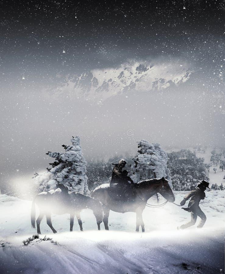 Under snöstrormen stock illustrationer
