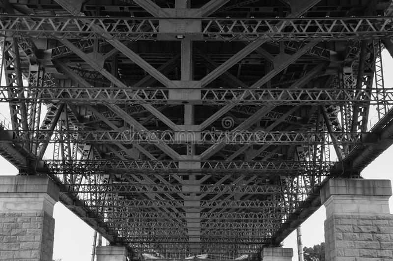 Under Sydney Harbour Bridge, Australia, processed in Black and White royalty free stock photography
