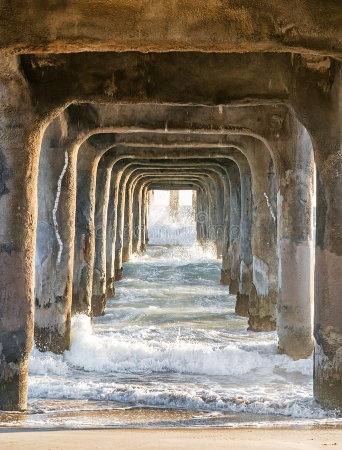 Free Under The Manhattan Beach Pier Royalty Free Stock Photos - 163011248