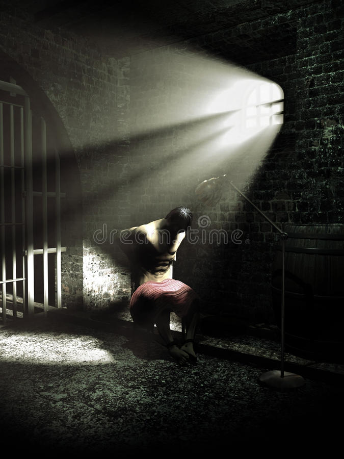 Under torture. Man seated and attached to a chair, inside a dark cellar illuminated by the sunlight through a small attic window with bars vector illustration