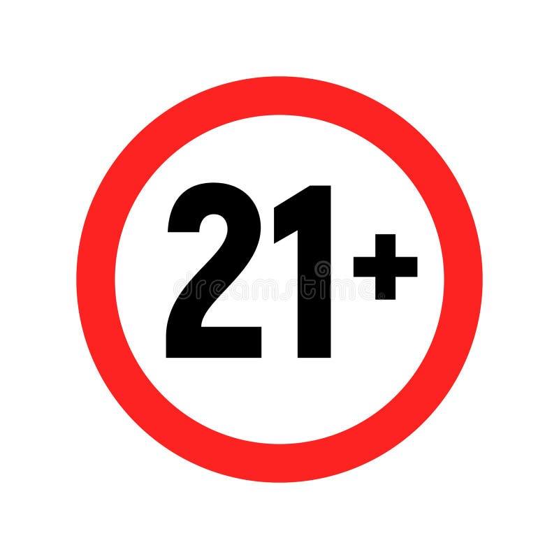 Under varnande symbol för 21 tecken Över 21 som censureras endast ?ldre f?rbjudet vuxet inneh?ll f?r arton ?lder vektor illustrationer