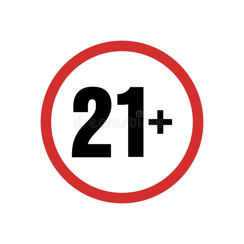 Under varnande symbol för 21 tecken Över 21 som censureras endast ?ldre f?rbjudet vuxet inneh?ll f?r arton ?lder stock illustrationer