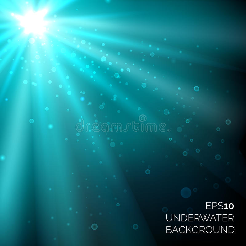 Under water blue deep ocean vector background with bubbles and sunshine rays vector illustration