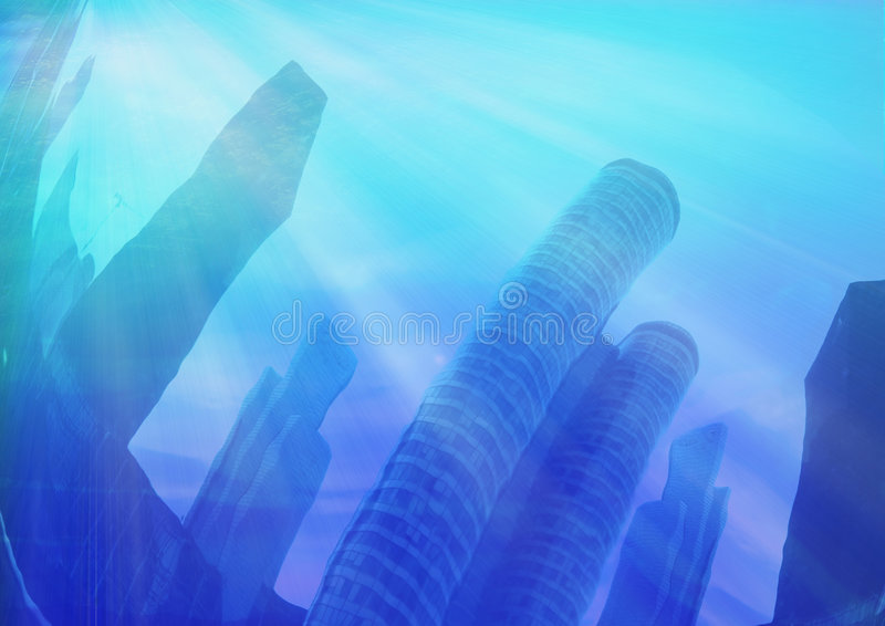 Under water city vector illustration