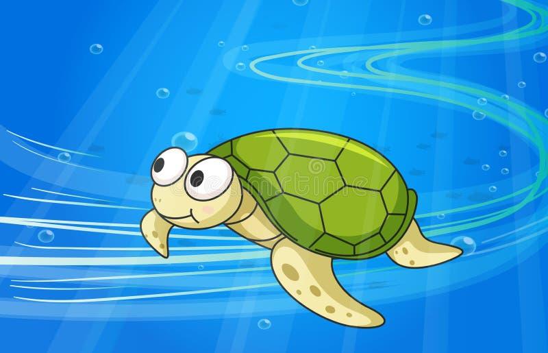 Under water tortoise stock illustration