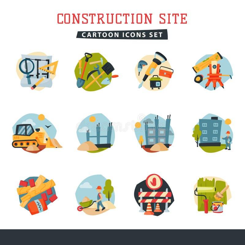 Under websiten för konstruktionsbyggnadsbärare ställde symboler in samlingsvektorillustrationen royaltyfri illustrationer