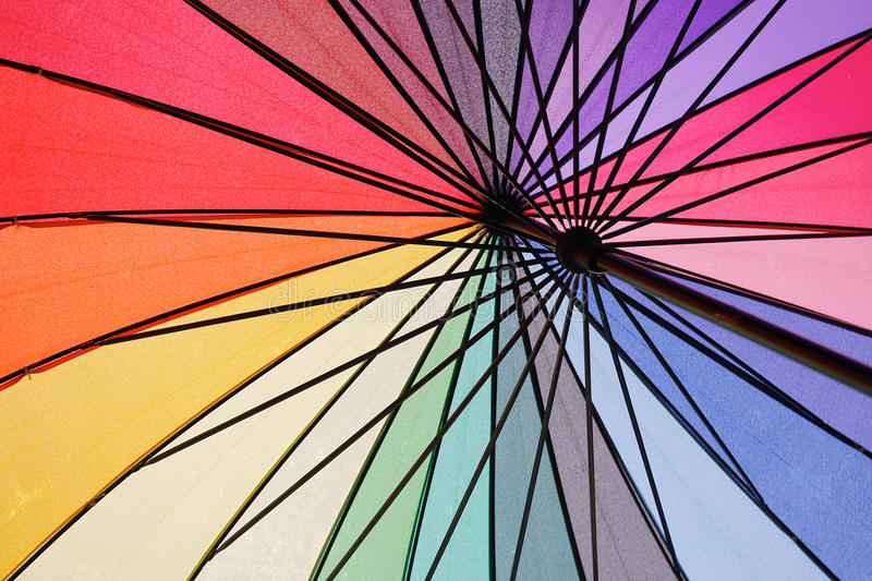 Under The Wet Colorful Umbrella Royalty Free Stock Photos
