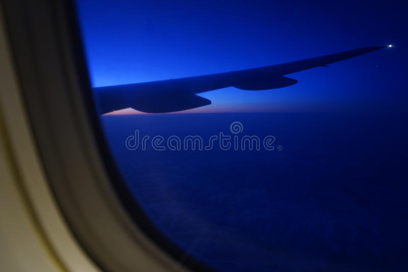 Under the wing of the aircraft royalty free stock images