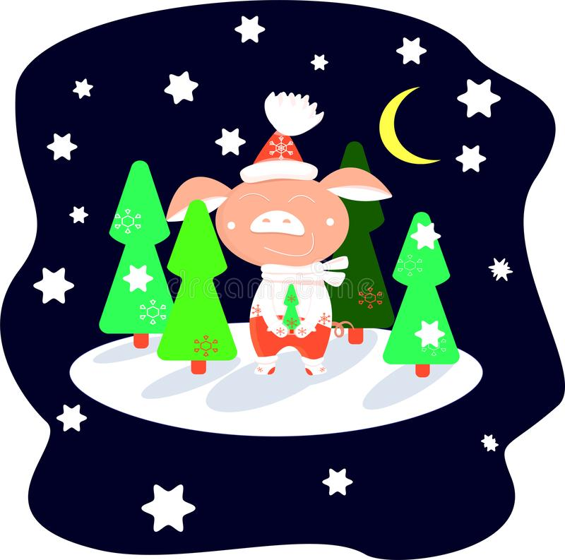 Piglet in red pants in a winter forest on a starry night among green Christmas trees vector illustration