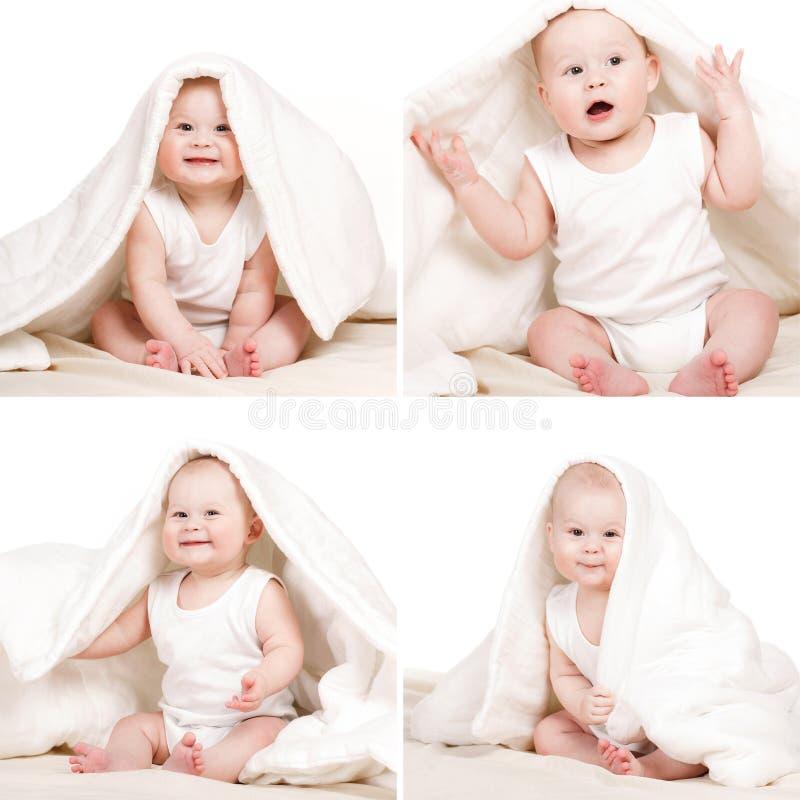 Underbar collage behandla som ett barn på en vit bakgrund royaltyfri foto