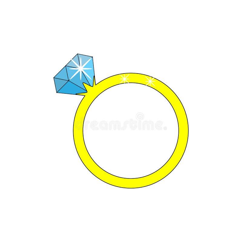 Underbar design av den guld- cirkeln med en stor blå diamant royaltyfri illustrationer