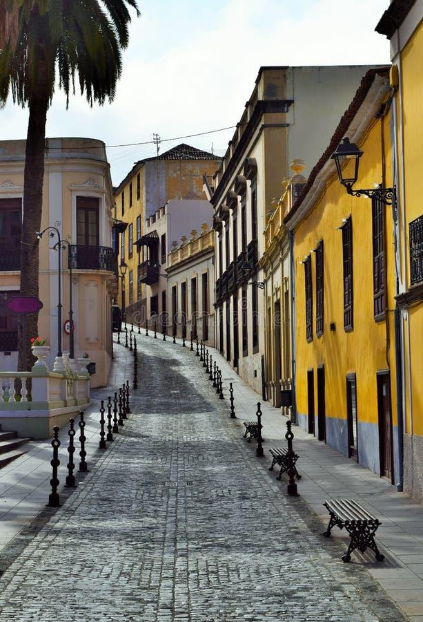 Underbar gammal gata i Orotava, Tenerife, kanariefågelöar, Spanien arkivbild