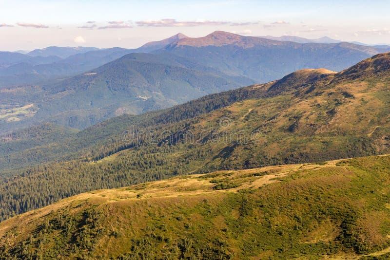 Underbar panoramautsikt av Carpathians berg, Ukraina Montering Hoverla, Carpathians Vintergrönt kullelandskap med klar himmel arkivfoton