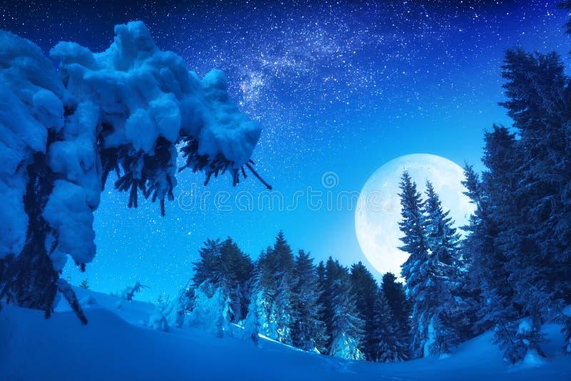 Underbar resning av fullmånen i en vinterdal royaltyfri bild