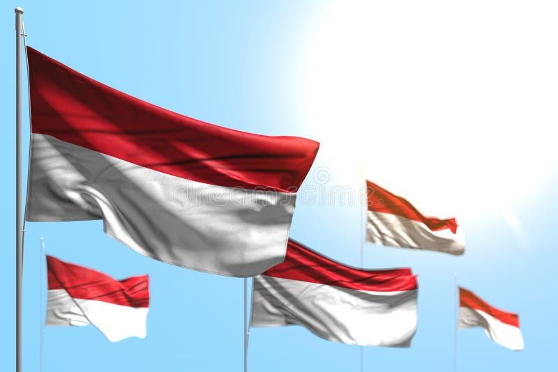 Underbara 5 flaggor av Indonesien är vågen mot fotoet för blå himmel med bokeh - någon illustration för festmåltidflagga 3d royaltyfri illustrationer