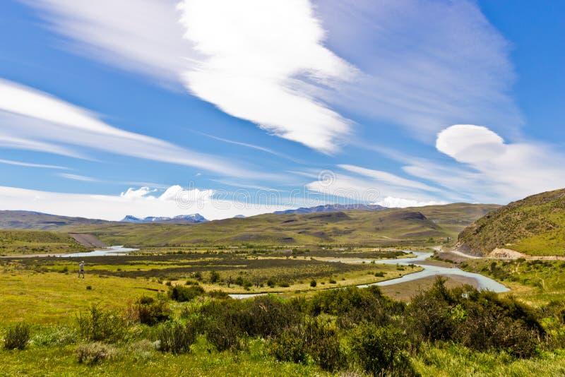 Underbart landskap i Sydamerika i stark vind royaltyfri foto