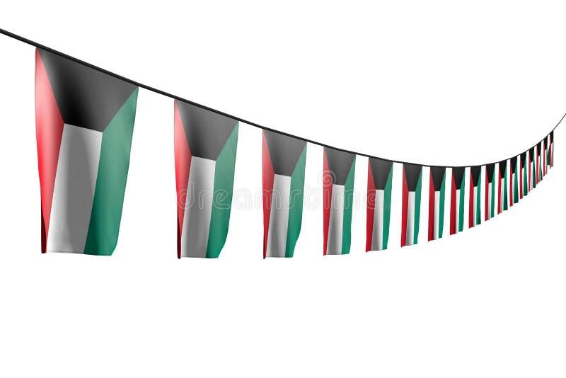 Underbart många Kuwait flaggor eller hänga för baner som är diagonalt med perspektivsikt på repet som isoleras på vitt - n royaltyfri illustrationer