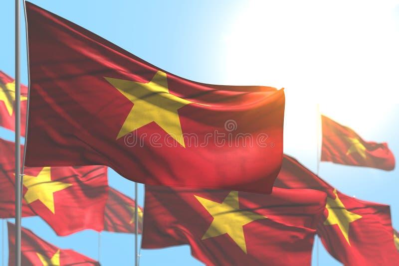 Underbart vinkar många Vietnam flaggor mot illustration för blå himmel med den selektiva fokusen - semestra illustrationen för fl stock illustrationer
