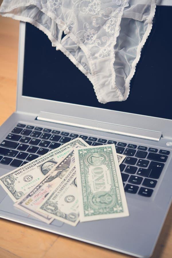 Underbyxorar för vit kvinna med bärbar datordatoren och pengar fotografering för bildbyråer