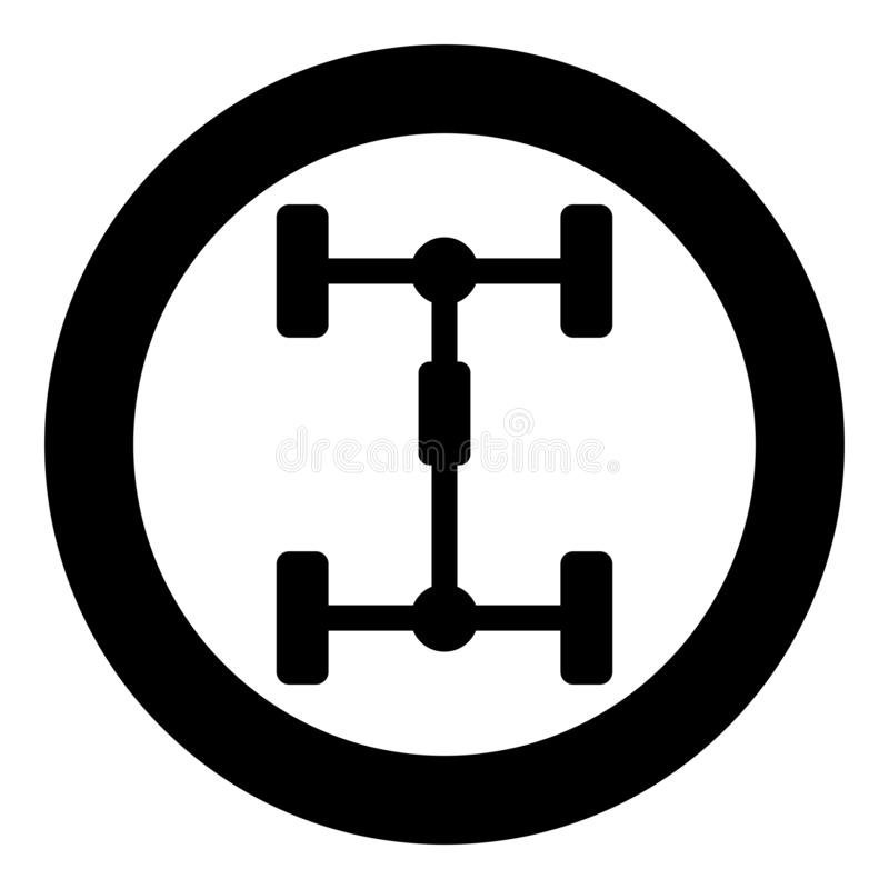 Undercarriage Chassis Carriage for car Vehicle frame icon in circle round black color vector illustration flat style image. Undercarriage Chassis Carriage for vector illustration