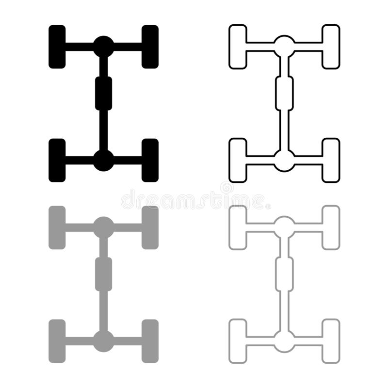 Undercarriage Chassis Carriage for car Vehicle frame icon outline set black grey color vector illustration flat style image. Undercarriage Chassis Carriage for vector illustration