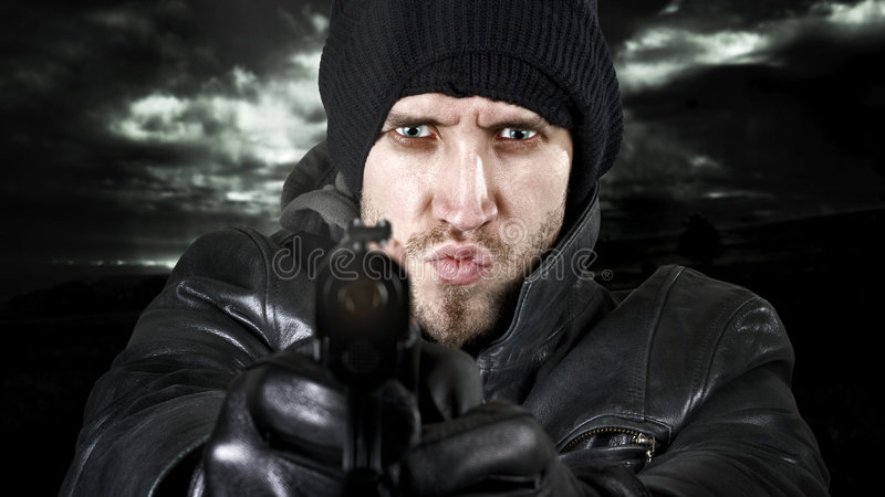 Download Undercover Agent Firing Gun In The Camera Stock Image - Image: 3933791