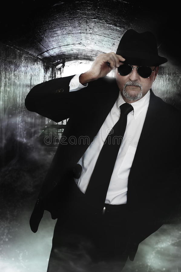 Undercover detective man in sunglasses stock photos