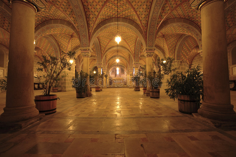 Undercroft. Church interior with arch and pillars royalty free stock photos
