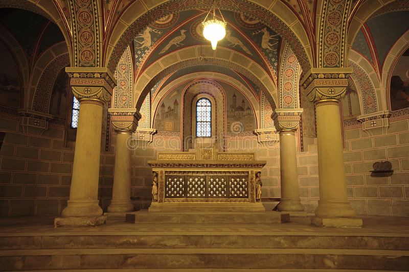 Undercroft. Church interior with arch and pillars stock photos