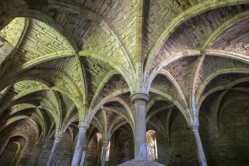 Undercroft of Battle Abbey in East Sussex. The remains of the undercroft at the historic Battle Abbey in East Sussex, UK royalty free stock photo