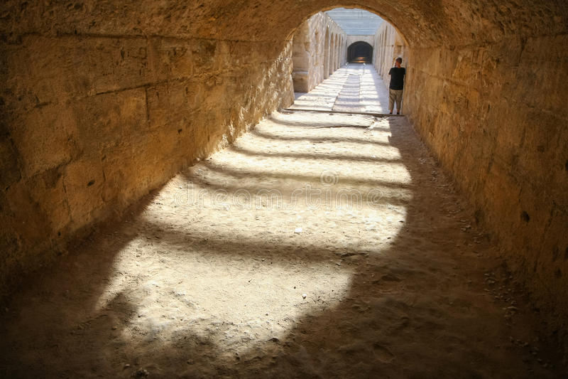 Undercroft of El Djem Amphitheatre. Undercroft of roman biggest amphitheater in africa in El Djam, Tunisia stock photos