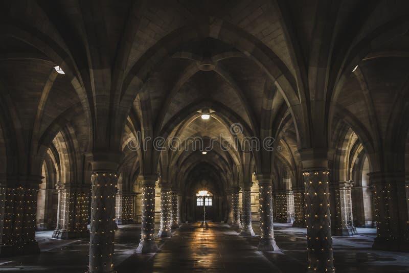 The undercroft at Glasgow University lit up. The undercroft also called the Cloisters at Glasgow University lit up, Scotland royalty free stock image