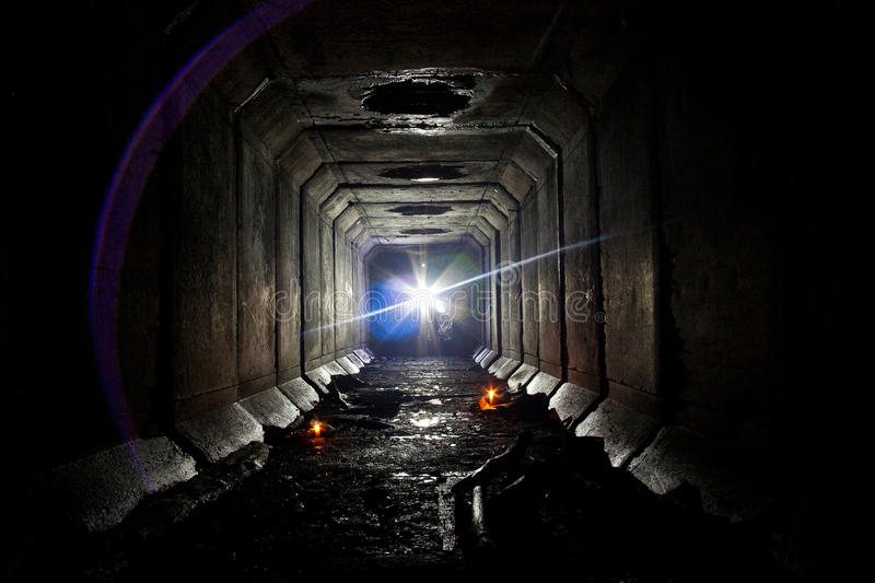 Underground abandoned sewer collector tunnel under Voronezh stock images