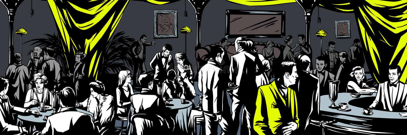 Underground bar Prohibition. All elements layered black line drained vector illustration