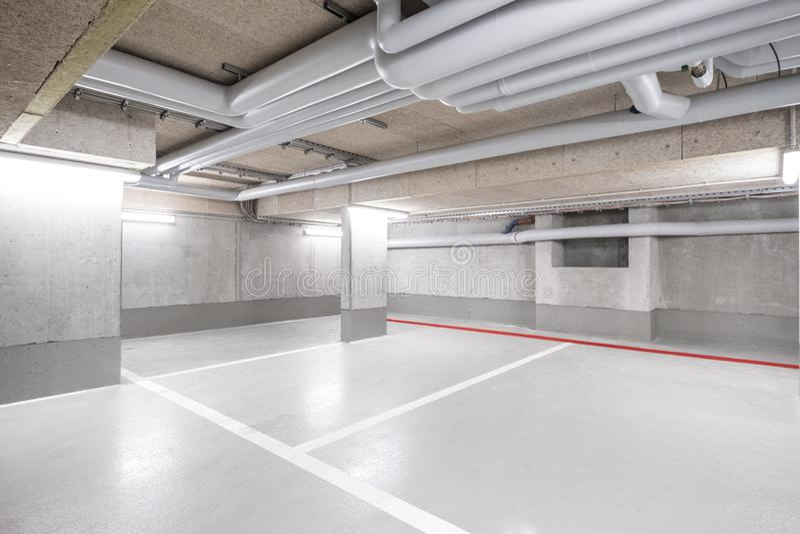 Underground car parking deck royalty free stock photo