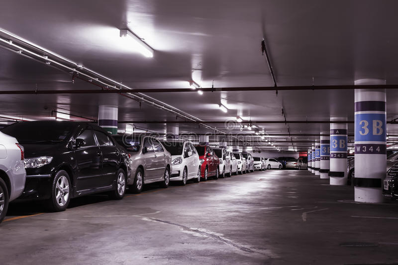 Underground car parking lot royalty free stock photography