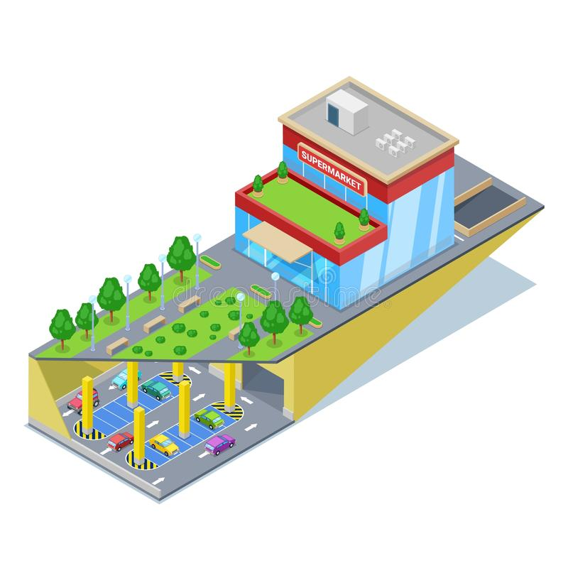 Underground car parking in shopping mall. Vector isometric 3D illustration. Urban building and city transport traffic stock illustration