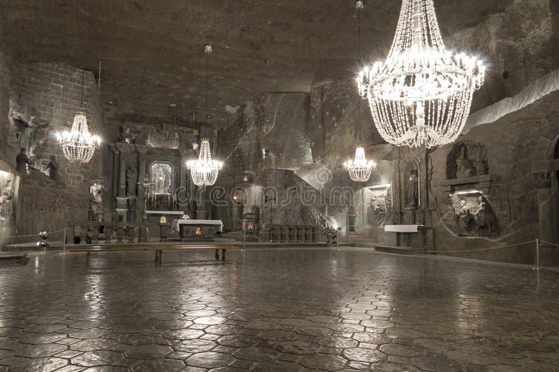 Underground Chamber in the Salt Mine, Wieliczka stock image