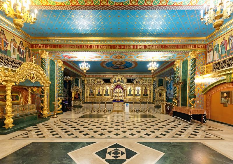 The underground chapel of Transfiguration Cathedral in Odesa, Ukraine. Odesa / Ukraine - March 27 2019: The interior of underground side chapel of royalty free stock photography